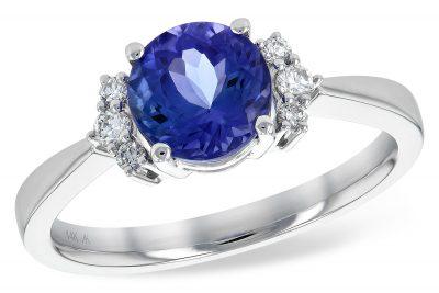Round Tanzanite Ring with 6 Diamonds
