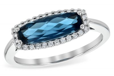 London Blue Topaz Horizontal Ring with Diamond Halo