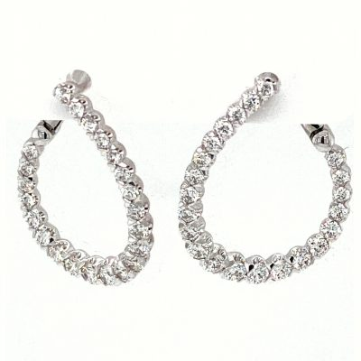 Curved Diamond Hoop Earrings 1.00 carat total