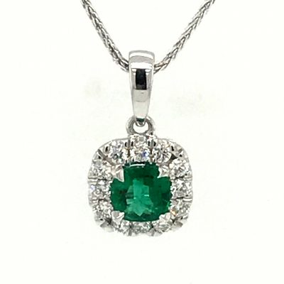 Cushion Shaped Emerald Pendant with Diamond Halo