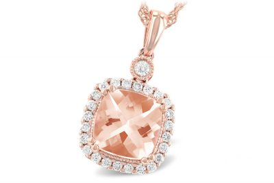 Morganite Cushion Shaped Pendant in Rose Gold with Diamond Halo