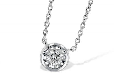 Diamond Bezel Necklace with White Gold Border