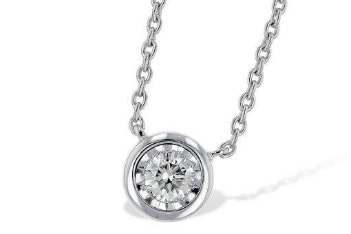 Diamond Bezel Necklace with White Gold Border