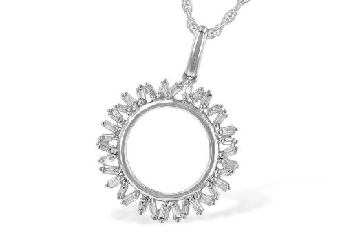 Open circle of baguette diamonds all totaling .20ct, 34 diamonds in total, GH SI2, 14k White gold, 18 inch rope chain with lobster clasp