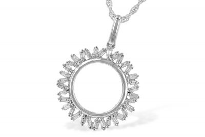 34 Baguette Diamonds in a Circle Pendant