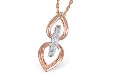 Double Pear Shaped Pendant Joined by Five Diamonds