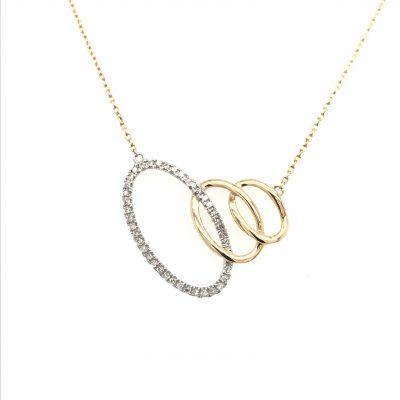 triple interlocking oval diamond necklace 2 tone