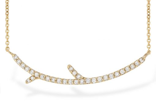 Diamond Lined Tree Branch Bar Necklace