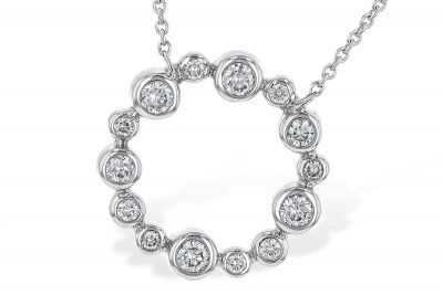 Open Circle of Diamond Champagne Bubbles Pendant