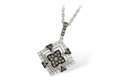 Diamond Shaped Pendant with Brown and White Diamonds Vintage Style