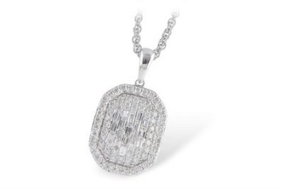 Pave Baguette Diamonds in Pendant with Double Diamond Border