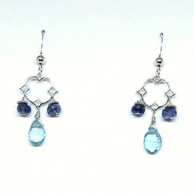 Drop Earrings with Apatite Briolette center and 5mm faceted Tanzanite on each side with open center above on Eurowire
