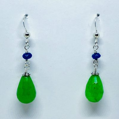 Drop Earrings with 8x12mm dyed green Jade teardrop at the bottom and 4mm faceted deep blue dyed jade above on Eurowire, sterling silver