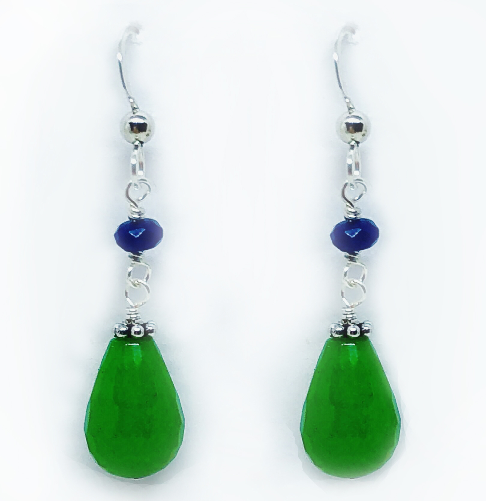 Silver Drop Earrings With Blue Beads