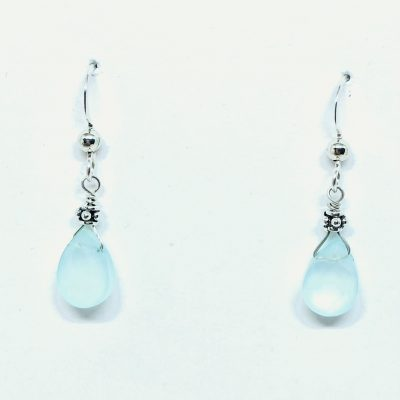 7x10 Dyed Aqua Chalcedony flat Briolette drop earrings on Sterling silver eurowire with 3mm Dotted Flat Bead above the stone