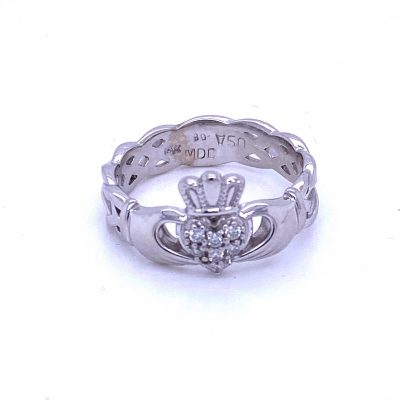 Claddagh Celtic 14k white gold ring