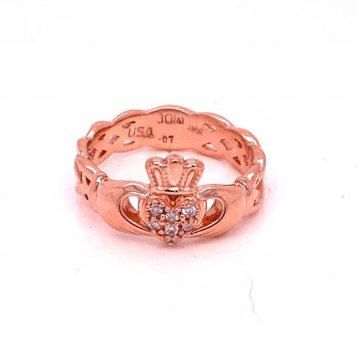 Claddagh Rose Gold Ring with Diamonds