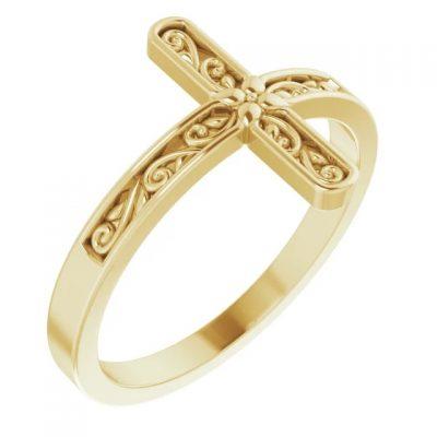 Scroll Pattern Sideways Cross Ring