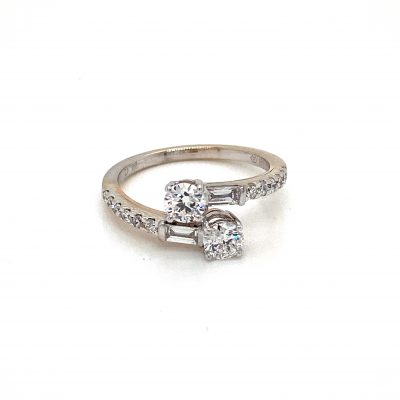 Two Diamond Ring with Baguette Diamonds 1.00ct total