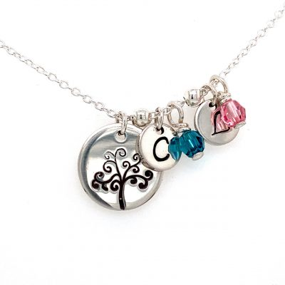 Family Tree Sterling Silver Necklace with hand stamped initial disks and swarovski birthstone beads to match. . Each set of initial with crystal is addiational $29. Sterling silver cable 18 inch chain with lobster clasp.