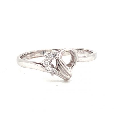 Open Heart diamond ring with 5 round accenting diamonds lining one side of the heart all totaling .05ct GH SI2, 14k white gold