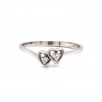 2 open heart diamond ring, diamonds totaling .02ct GH color, SI2 Clarity, 14k white gold