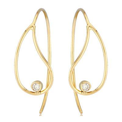 Open teardrop earrings with round bezel set diamond in the bottom of the teardrop, diamonds totaling .06ct, 14k yellow gold