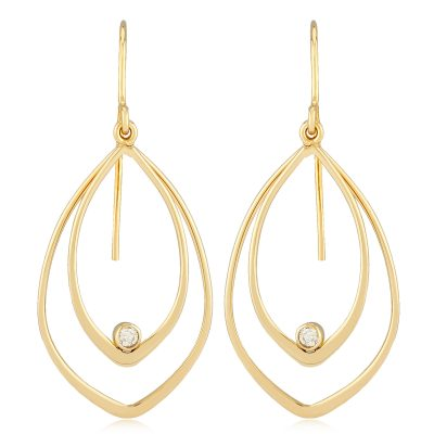 Double Open teardrop earrings on eurowire with round accenting bezel set diamond in the bottom of one of the teardrops, 14k yellow gold, diamonds totaling .06ct