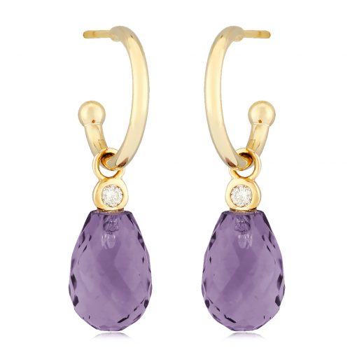 Hoop earrings on post with Square checkerboard amethyst briolette and round accenting diamond dangle, diamonds totaling .06ct 14k yellow gold