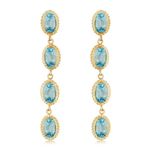 Drop Blue topaz earrings with 4 oval 6x4mm blue topaz set in straight line down all bezel set with rope frame, on posts, 14k yellow gold