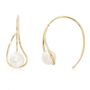 Open teardrop sitting freshwater pearl earrings, 14k yellow gold
