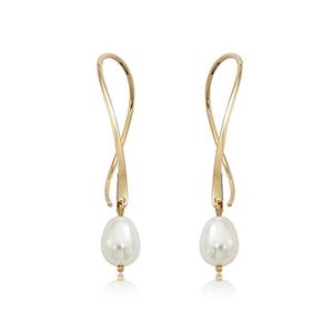Ear wire sweep earrings, freshwater pearl dangle, 14k yellow gold