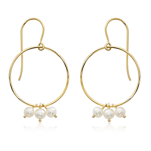 open circle drop earrings with three round mini freshwater pearls dangle together on circle, 14k yellow gold, eurowire