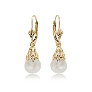 Floating Opal Leverback Earrings with Floating Opal Ball below Lace Cap all 14k yellow gold