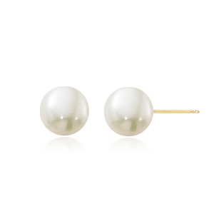 5-5.25mm pearl post earrings with 14k yellow gold posts