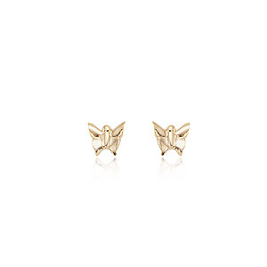 Mini Butterfly Post Earrings, 14k Yellow Gold