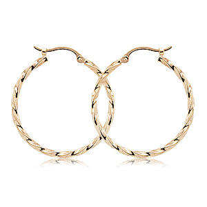 14k Yellow Gold twisted tube hoop earrings with hinged post
