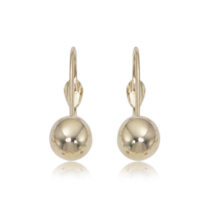 14k Yellow Gold 6mm Ball Earrings on Leverbacks
