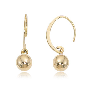 Mini Eurowire earrings with 6mm gold ball dangle, all 14k yellow gold