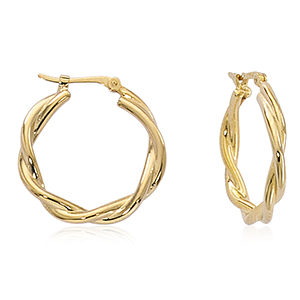 14k twisted medium hoop earrings, yellow gold with hinged posts