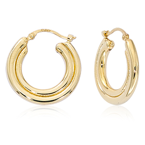 Medium Round indented hoop earrings, 14k yellow gold with hinged post