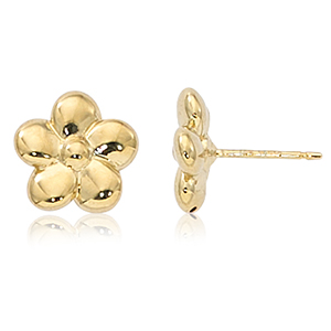 Medium flower stud earrings, 14k yellow gold