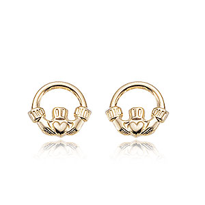 Claddagh 14k Yellow Gold Post Earrings