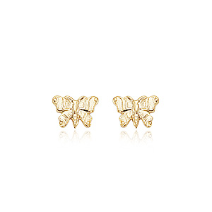 Embossed Butterfly post earrings, 14k yellow gold