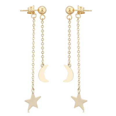 Moon and Stars Dangle Earrings 14ky