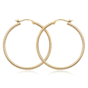 30mm Tub Hoop earrings, 1.8mm width, twisted design, 14k yellow gold