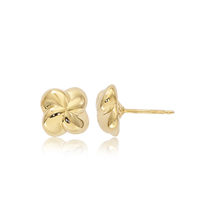 Puffed twisted clover style stud earrings, 14k yellow gold