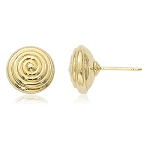 Swirled round 10mm stud earrings, 14k yellow gold