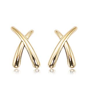 Medium 'X' post earrings, 14k yellow gold