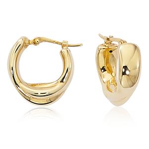 Small Double Loop Hoop wide earrings, 14k yellow gold